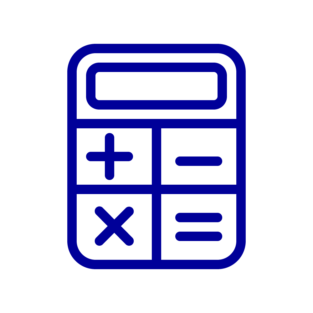 Line drawing icon of calculator
