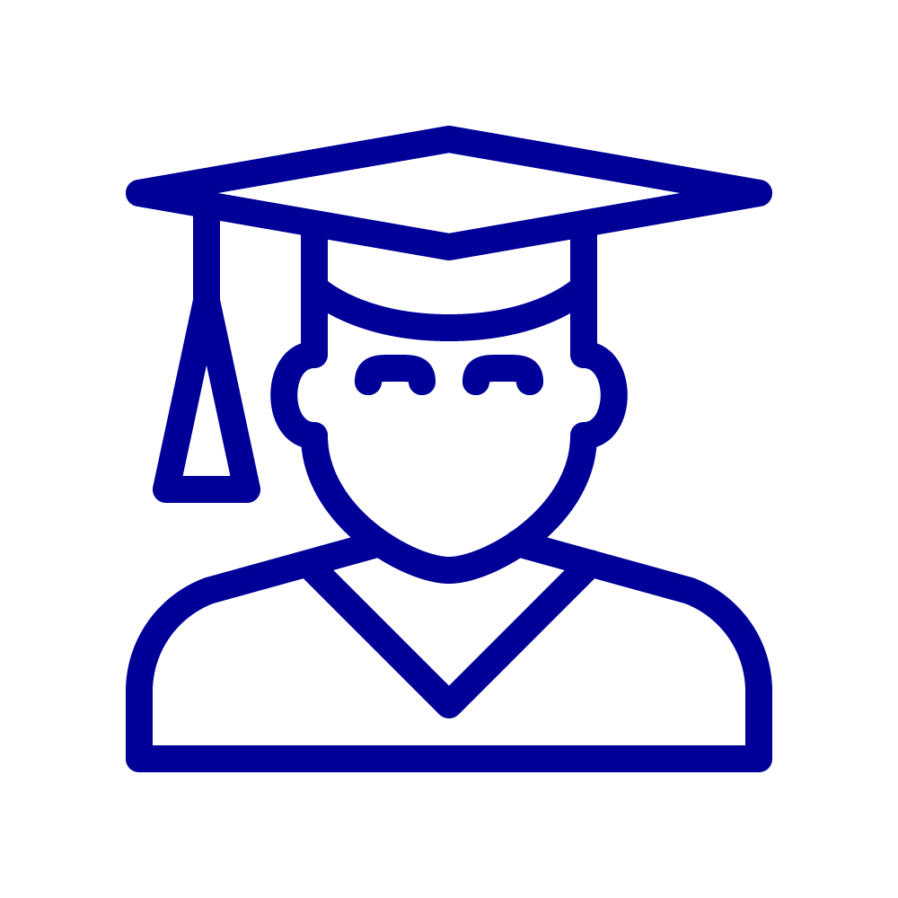 Line drawings of a graduate wearing a mortarboard