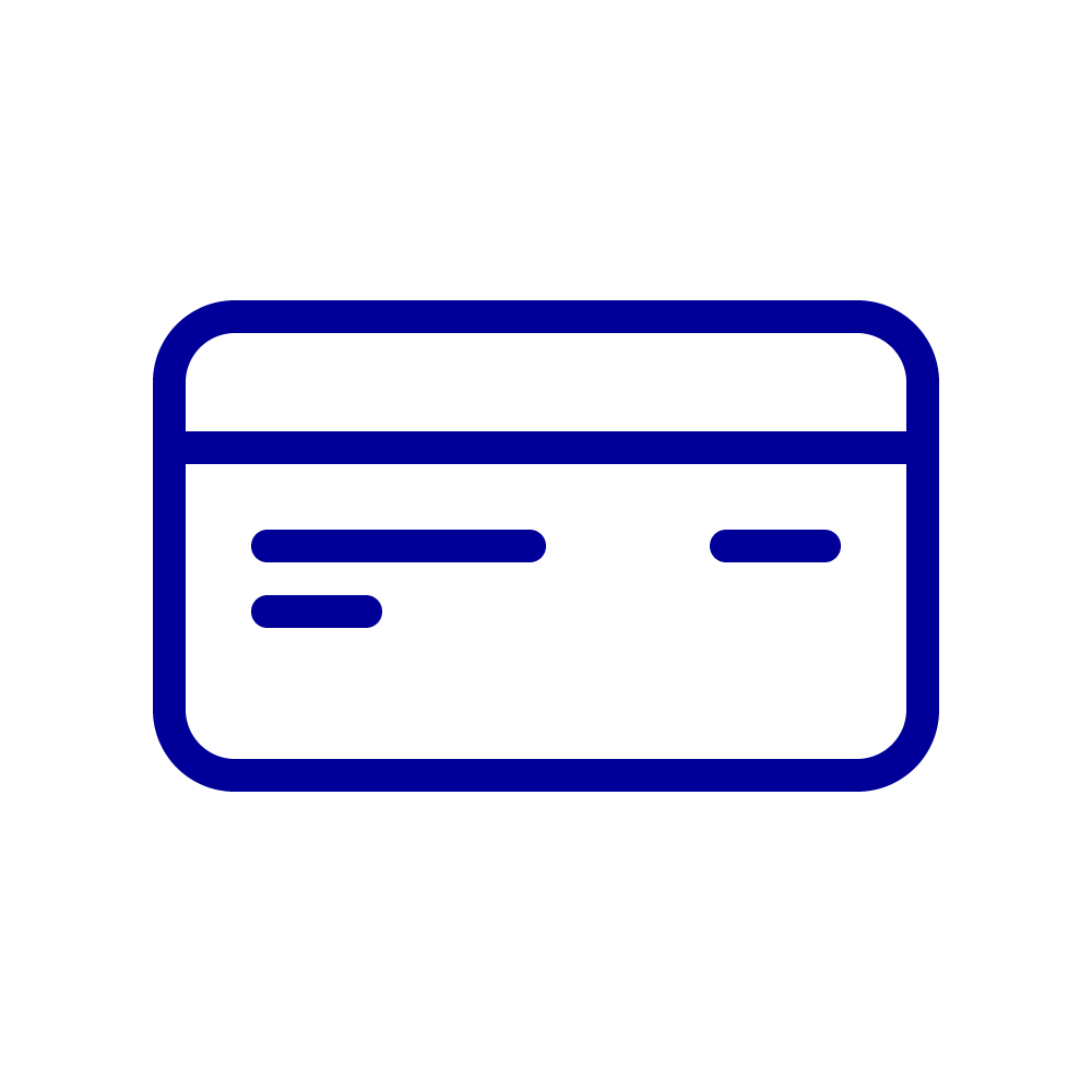 Icon for a Visa check card. Line drawing of a debit card.